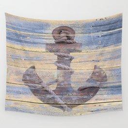 Rusty Anchor Grey Blue Beach Lake House Coastal Home Decor A177 Wall Tapestry