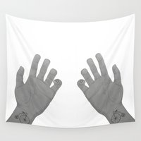 hands Wall Tapestries featuring Hands by Gusti