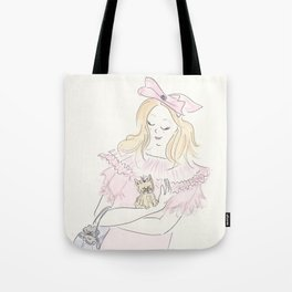 Yorkie Puppy Dog, Black Cat and Pink Bow Fashion Tote Bag