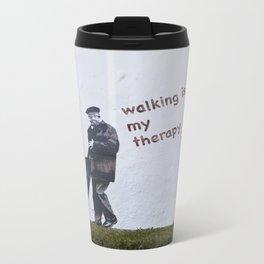A Gentleman goes walking; Camino to Santiago de Compostela Metal Travel Mug