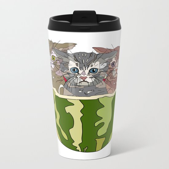 Watermelon Cats Metal Travel Mug