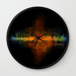 Rome city skyline HQ v04 Dark Wall Clock