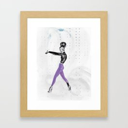 Model Pose in Purple Tights Framed Art Print