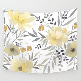 Modern, Floral Prints, Yellow, Gray and White Wall Tapestry