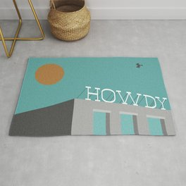 Howdy - Roof Signage - Vintage Text - Southwest Pop Art By CJ Hughes Rug