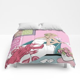CLARICE: Art Deco Lady - Parisian Pink Comforters