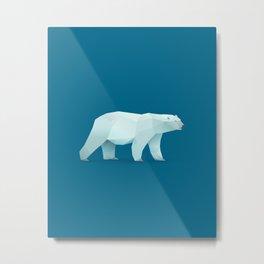 Geometric Polar Bear - Modern Animal Art Metal Print