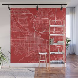 Eugene Map, USA - Red Wall Mural