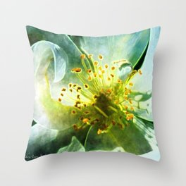 Yellow Rose Center with smokey overlay by CheyAnne Sexton Throw Pillow
