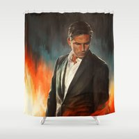 alicexz Shower Curtains featuring He Who Fights Monsters by Alice X. Zhang