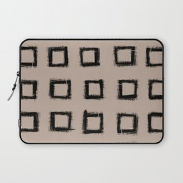 Square Stroke Dots Black on Nude Laptop Sleeve