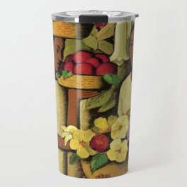 Mujeres con flores (Woman selling Zinnias, Lilies, Angels Trumpet & Begonias) by Alfredo Martinez Travel Mug