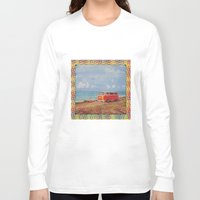 vw bus Long Sleeve T-shirts featuring THE ORANGE VW BUS III by Bones and Balloons
