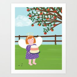 Angel Cake & Apple Tree Art Print