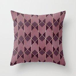 Chic Burgundy Gold Arrowhead Chevron Geometric Throw Pillow