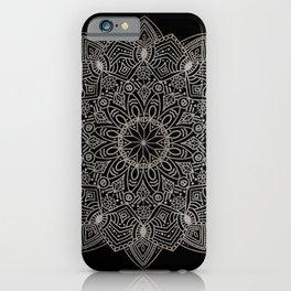 Beautiful hand drawn silver mandala on black iPhone Case
