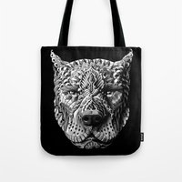 pitbull Tote Bags featuring Pitbull by BIOWORKZ