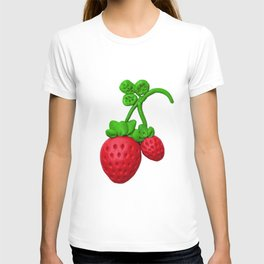 Sweet red strawberry with plasticine T-shirt