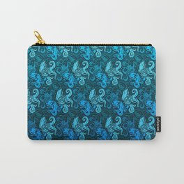blue pattern with octopuses Carry-All Pouch
