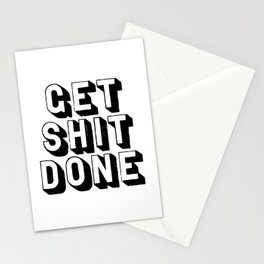 Get Shit Done black-white typography poster black and white design bedroom wall home decor room Stationery Cards