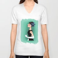 audrey hepburn V-neck T-shirts featuring Audrey Hepburn by carotoki art and love