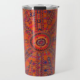 Orange Wildflower Sunshine II // 18th Century Colorful Rusty Red Bright Blue Metallic Happy Pattern Travel Mug