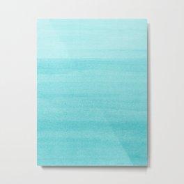 Aqua Blue Watercolor Ombre Pattern Metal Print
