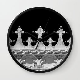 Abstract Venetian Architectural Details in Black and White Wall Clock