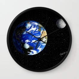 Drawing the Earth and the Moon Wall Clock