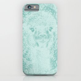 Happy Ghostly alpaca and mandala in Limpet Shell Blue iPhone Case