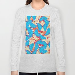 Turquoise Tropical Butterflies Floral Background #decor #society6 #buyart Long Sleeve T-shirt