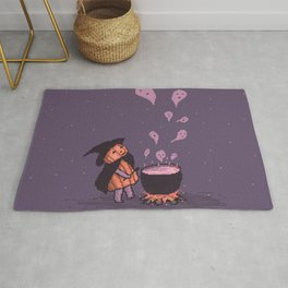 Pumpkin Witch brewing ghostly Soup Rug