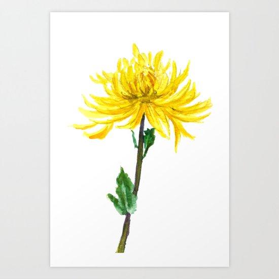 one yellow chrysanthemum Art Print