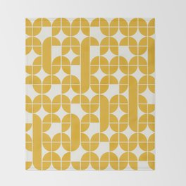 Mid Century Modern Geometric Pattern Yellow Throw Blanket