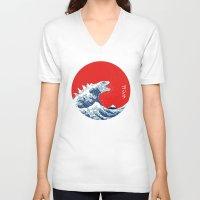 kaiju V-neck T-shirts featuring Hokusai kaiju by Marco Mottura - Mdk7