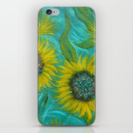 Sunflower Abstract on Turquoise I iPhone Skin