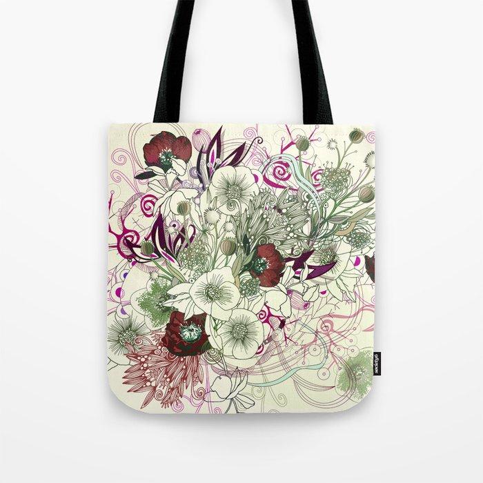 Zentangle Floral mix II Tote Bag