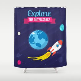 Explore the outer Space Shower Curtain