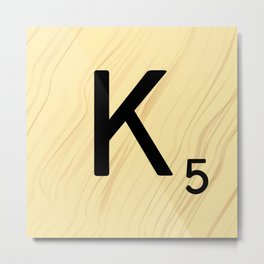 Scrabble K Decor, Scrabble Art, Large Scrabble Tile Initials Metal Print