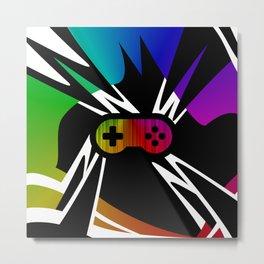 Rainbow Gamer Controller Metal Print