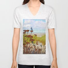 Plaid Beachscape with Dragonflies Unisex V-Neck