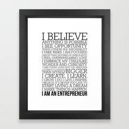 Entrepreneur Manifesto Framed Art Print