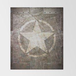 Army Star on Distressed Riveted Metal Door Throw Blanket