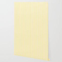 Modern geometrical baby yellow white stripes pattern Wallpaper