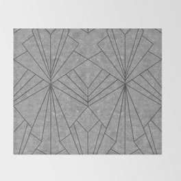 Art Deco in Black & Grey - Large Scale Throw Blanket