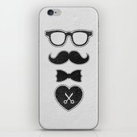 mustache iPhone & iPod Skins featuring Mustache by solomnikov