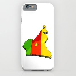 Cameroon Map with Cameroonian Flag iPhone Case