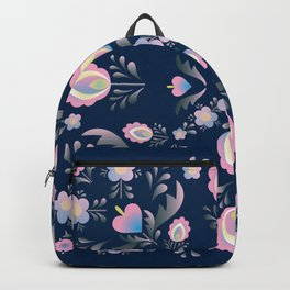 Folk Flowers in Pink and Indigo Backpack