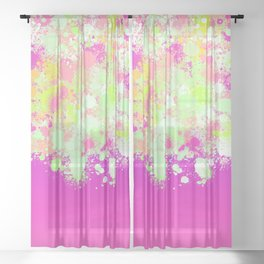 paint splatter on gradient pattern pgoi Sheer Curtain