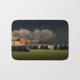 Black hay bales Bath Mat